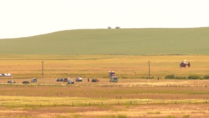 A STARS Air Ambulance departs from a field east of Calgary on Monday afternoon. The helicopter was transporting a local senior with dementia who had been missing for nearly two days.