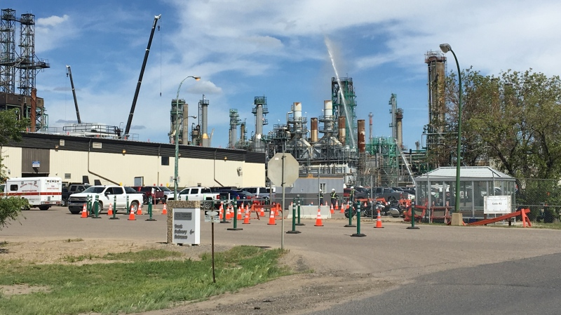 Crews work to control a fire at the Co-op Refinery. (Gareth Dillistone/ CTV News Regina)