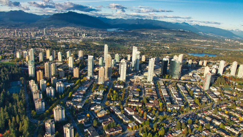 Metropolis at Metrotown is seen from the air in Burnaby, B.C., in spring 2019.
