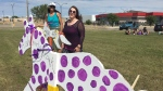 Leah Dorion and Danielle Castle have created public art in Prince Albert. (Lisa Risom/CTV Prince Albert)