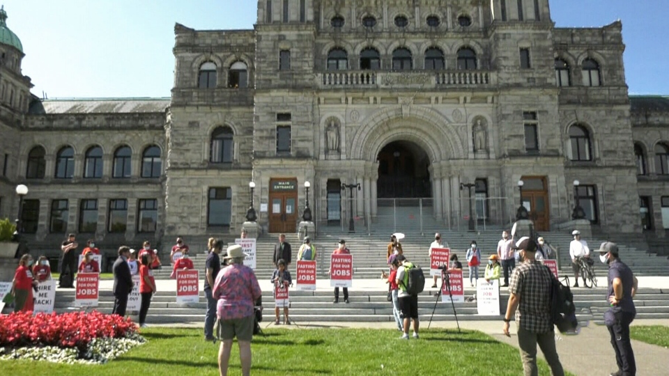 Hotel workers are seen on the steps of the B.C. legislature: Aug. 10, 2020 (CTV News)
