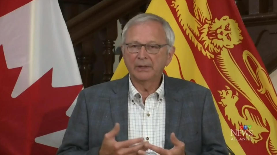 New Brunswick Premier Blaine Higgs speaks to media at the provincial legislature in Fredericton on Aug. 10, 2020.