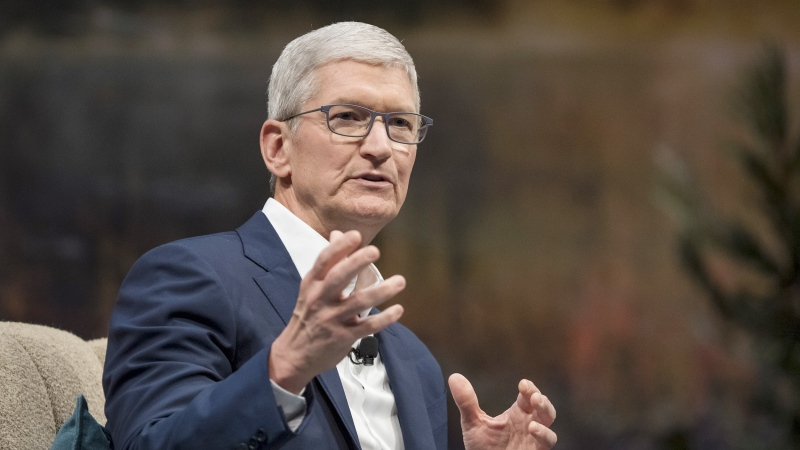Tim Cook, chief executive officer of Apple Inc., speaks during a keynote at the 2019 DreamForce conference in San Francisco, California, U.S., Nov. 19, 2019. (Bloomberg/Bloomberg/Bloomberg via Getty Images)