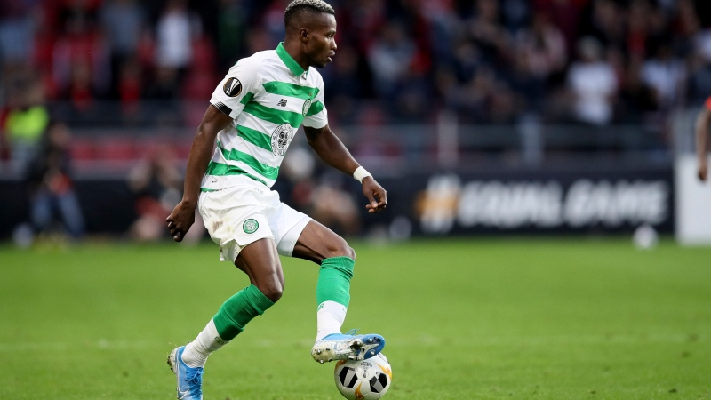 In this Thursday, Sept. 19, 2019 file photo, Celtic's Boli Bolingoli-Mbombo controls the ball during the Europa League Group E soccer match between Rennes and Celtic, at the Roazhon Park stadium in Rennes, France. (AP Photo/David Vincent, File)