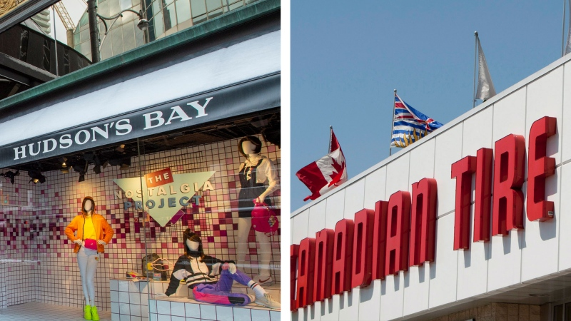 Signs for HBC and Canadian Tire are seen in this composite image. (The CANADIAN PRESS)
