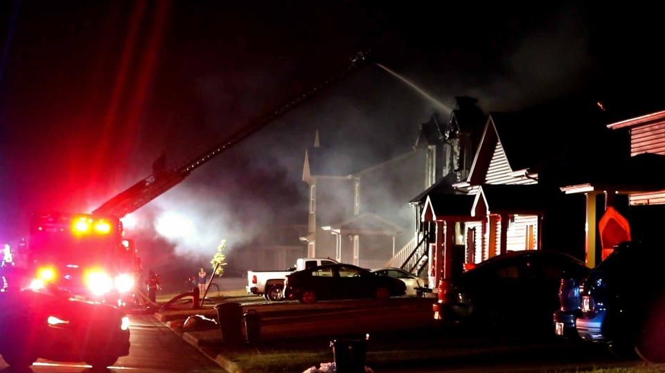 Crews fight a house fire on Clarendon Drive in Moncton, N.B., the morning of Aug. 11, 2020. (Submitted: Wade Perry)