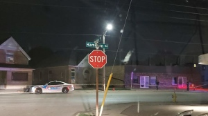 Police tape marks off a section of Hamilton Road in London, Ont. on Monday, Aug. 10, 2020. (Source: Drew Gray / Facebook)