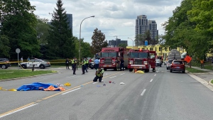Emergency crews are seen where two children and a man were struck in Etobicoke on Aug. 11, 2020. (Tom Podolec/CTV News Toronto)