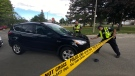 Investigators attend the scene of a fatal collision in Etobicoke that claimed the life of a young child. (Tom Podolec/CTV News Toronto)