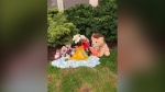 A memorial is growing for an infant who was found dead in a Kitchener apartment over the weekend (Natalie van Rooy / CTV News Kitchener)