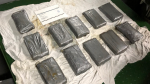The CBSA says a field test identified the contents of the packages as 16.84 kilograms of suspected cocaine, with an estimated street value of $875,000. (RCMP)