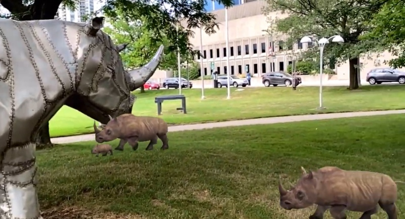 "An image from the Engage augmented reality app shows ""real"" rhinos joining the sculpture outside Museum London in London, Ont. (Source: EXAR Studios)"