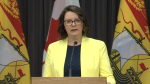 Dr. Jennifer Russell, New Brunswick's medical officer of health, provides an update on COVID-19 during a news conference on August 11, 2020.