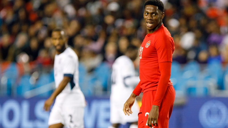 Canada forward Jonathan David smiles during first half of CONCACAF Nations League play against Cuba at BMO Field in Toronto, Saturday, Sept. 7, 2019. (THE CANADIAN PRESS / Cole Burston)