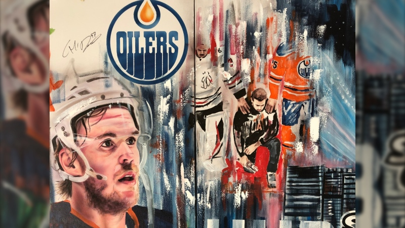 The mural, created by artist David Arrigo, features the captains of each of the 12 teams in the Western Conference hub.