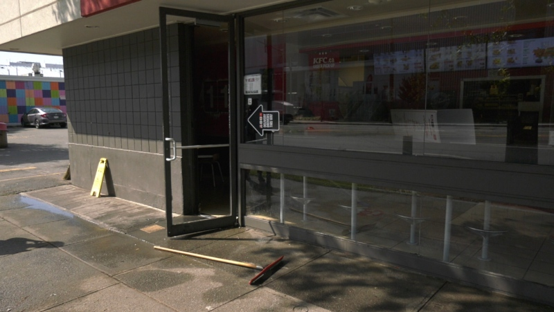 Police are investigating after a fiery object was thrown through a smashed window at a local KFC: (CTV News)