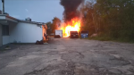 Woodshed fire behind Di Gusto on Regent Street in Sudbury. Aug. 10/20 (Rob Savignac/CTV Northern Ontario)