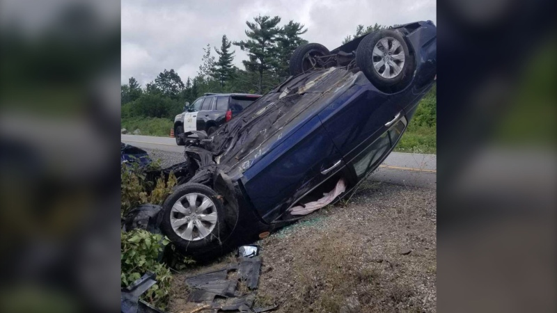 OPP investigates a fatal crash on NB Highway 400, north of Muskoka Road 34 (Whites Falls Road) in Georgian Bay Township on Tues., Aug. 11, 2020. (OPP)
