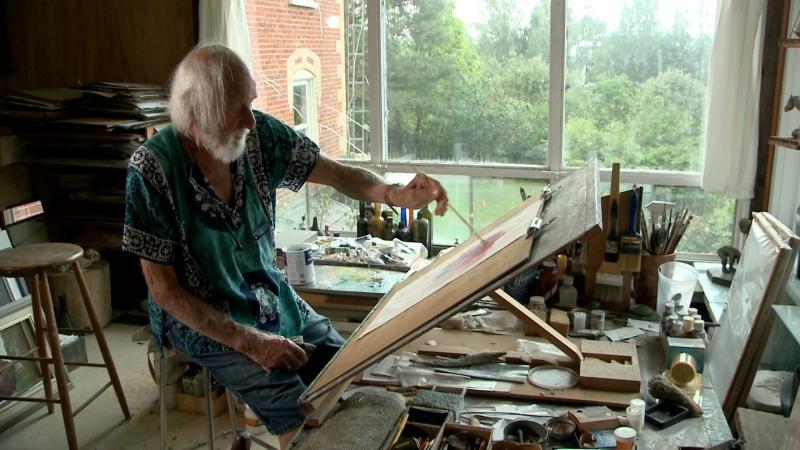 Pieter Doef, 93, in his Merrickville studio. Doef has been creating art since he was three years old, he says. (Chris Black / CTV News Ottawa)