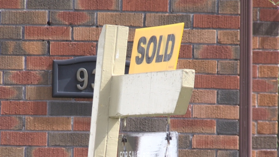 Sold sign on a North Bay home. Aug. 10/20 (Eric Taschner/CTV Northern Ontario)