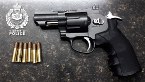 The replica handgun and fake bullets seized by police are shown: (Victoria police)