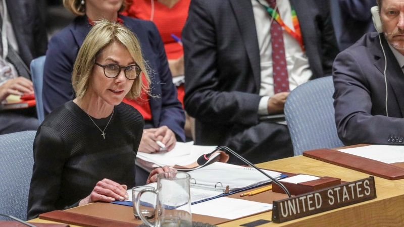 In this file photo, U.S. United Nations Ambassador Kelly Craft address the U.N. Security Council on Thursday Sept. 19, 2019 at U.N. headquarters. (AP Photo/Bebeto Matthews)