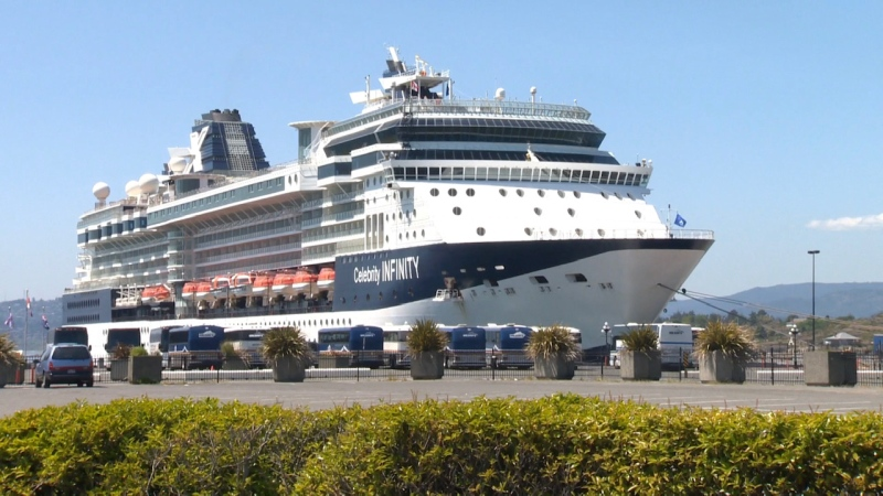 """The Celebrity Cruise Lines """"Infinity"""" vessel is seen docked at Victoria's Ogden Point: (File Photo)"""