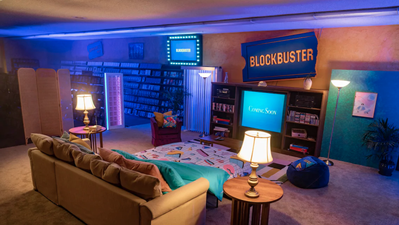 The last Blockbuster in the world is now an Airbnb, for a limited time in September. (Airbnb)