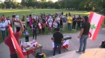 From CTV Kitchener: Community members gathered in Victoria Park to hold a vigil to pay tribute to the lives lost in the Beirut explosion.