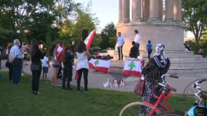 Community members gathered in Victoria Park to hold a vigil to pay tribute to the lives lost in the Beirut explosion.