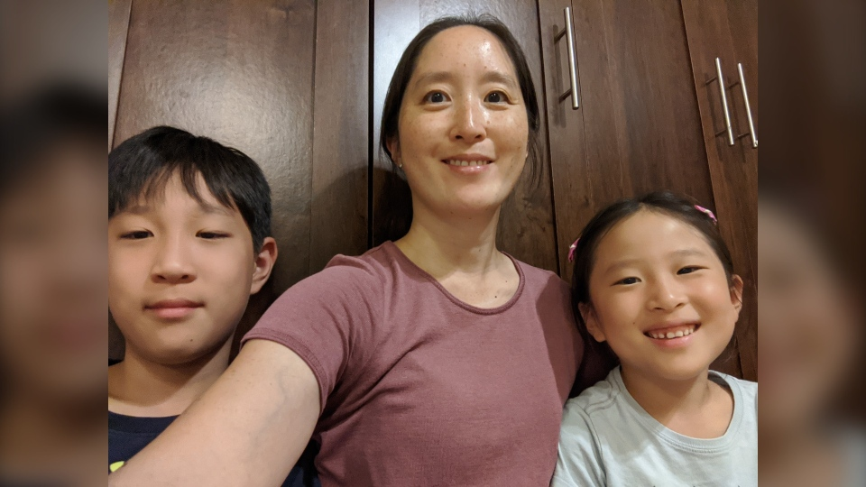 Narie Ju-Hong and her kids