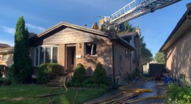 Fire crews complete searches of a home on Gatewood Road following a morning fire. (London Fire Department)