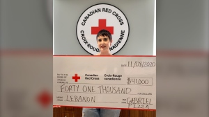 Emilie Gamelin, Coordinator, Corporate Partnerships at the Canadian Red Cross is pictured with the virtual cheque presentation from Gabriel Pizza. (Photo provided by Gabriel Pizza)u