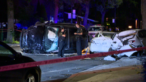 An overnight police chase ended early Wednesday morning when the driver came into contact with three parked cars / Cosmo Santamaria, CTV Montreal