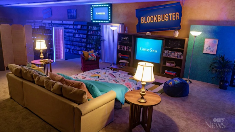 The world's last Blockbuster video store offers an exclusive Airbnb package as guests will rewind to the '90s for a classic movie night.