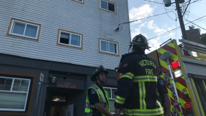 Firefighters were called to a top-floor unit at the Victoria Apartments at 820 Fisgard St. Wednesday morning. (CTV News)