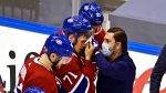 Montreal Canadiens' Jake Evans (71) is attended to by a trainer after being injured against the Pittsburgh Penguins during second period NHL Eastern Conference Stanley Cup playoff action in Toronto on Wednesday, August 5, 2020. THE CANADIAN PRESS/Frank Gunn