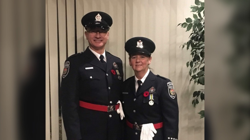 "Ottawa Special Constables Michael Bednarek and Suzanne Kelly were awarded the ""on-duty difference maker"" award at the 2020 Police Association of Ontario ""Hero of the Year"" awards. (Photo: Police Association of Ontario)"
