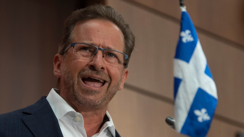 Bloc Quebecois Leader Yves-Francois Blanchet delivers his opening remarks during a news conference in Ottawa, Wednesday, Aug. 12, 2020. THE CANADIAN PRESS/Adrian Wyld