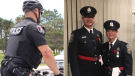 """Kingston Police Constable Fil Wisniak (right) and Ottawa Police Special Constables Michael Bednarek and Suzanne Kelly awarded """"on-duty difference maker"""" awards at the 2020 Police Association of Ontario """"Hero of the Year"""" awards. (Photo: Police Association of Ontario)"""