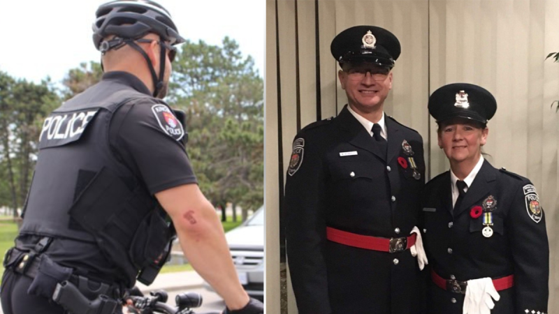 "Kingston Police Constable Fil Wisniak (right) and Ottawa Police Special Constables Michael Bednarek and Suzanne Kelly awarded ""on-duty difference maker"" awards at the 2020 Police Association of Ontario ""Hero of the Year"" awards. (Photo: Police Association of Ontario)"