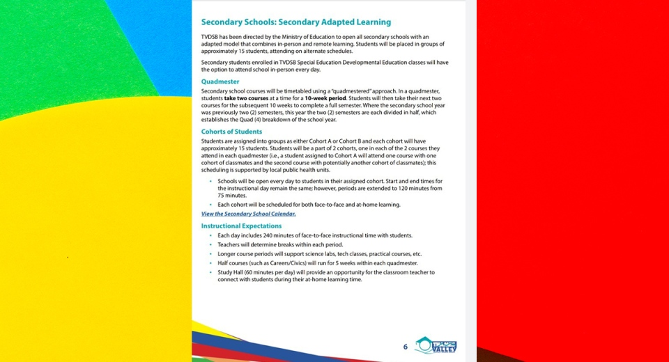 TVDSB Secondary School releases its Quadmester approach, Wednesday August 12, 2020 (Source: TVDSB)