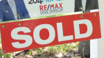 A house with a sold sign in Winnipeg is pictured on August 11, 2020 (CTV News Photo Scott Andersson)
