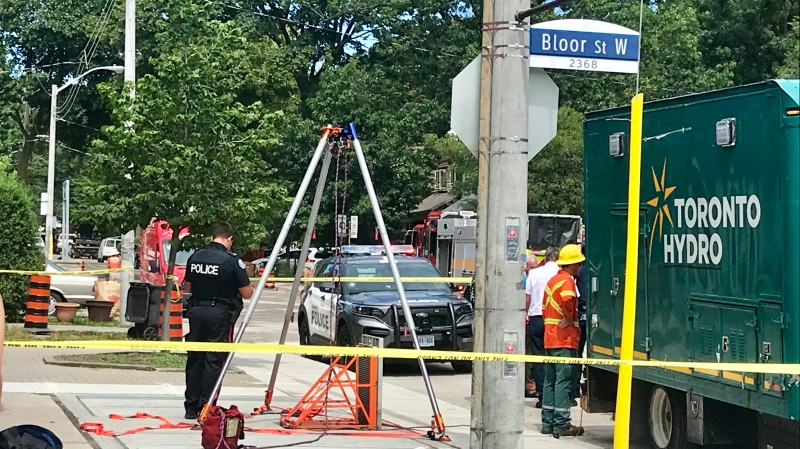 A worker has been rushed to hospital without vital signs after an industrial accident in the city's Bloor West Village. (Francis Gibbs/ CTV News Toronto)