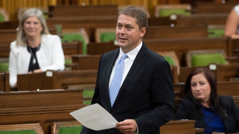 Opposition Leader Andrew Scheer rises during a sitting of the Special Committee on the COVID-19 Pandemic in the House of Commons in Ottawa, Wednesday, Aug. 12, 2020. This is Scheer's last appearance in the House of Commons as Conservative Leader. THE CANADIAN PRESS/Adrian Wyld