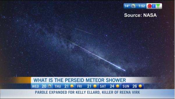 Perseid Meteor Shower, Canada, Vancouver meteor