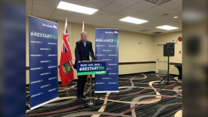 Premier Brian Pallister speaks at a news conference in Brandon, Manitoba on August 12, 2020 (CTV News Winnipeg photo Jamie Dowsett)