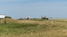 Traffic is lined up at the scene of a crash on Highway 11 on Aug. 12, 2020. (Dan Shingoose/CTV Saskatoon)