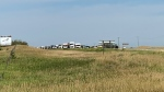 Traffic is lined up at the scene of a crash on Highway 11 on Aug. 12, 2020. (Dan Shingoose/CTV Saskatoon)