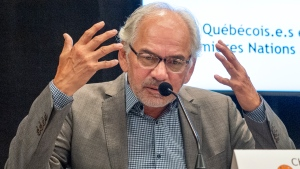 Ghislain Picard, Chief of the Assembly of First Nations Quebec-Labrador, speaks to the media about a survey on Quebecers attitudes toward First Nations at a news conference Wednesday, August 12, 2020 in Montreal.THE CANADIAN PRESS/Ryan Remiorz